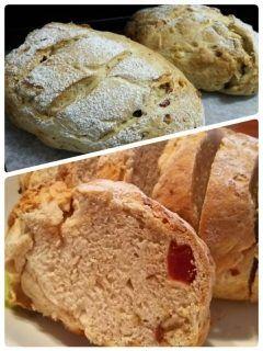朝ごはんにドイツパン  今日はドライフルーツミックスとホワイトチョコで  焼きたてフワフワで美味  息子もパクパク食べてくれました