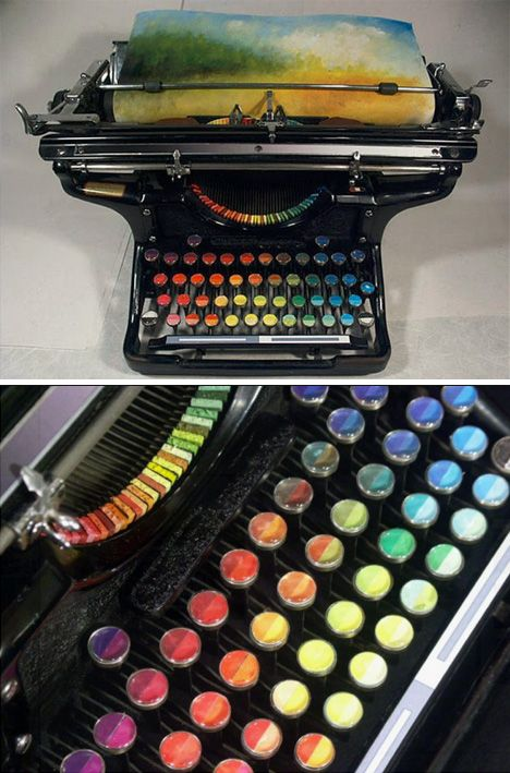 Tyree Callahan has recycled (or upcycled, perhaps) a classic 1937 Underwood typewriter by replacing letters with sponges soaked across the spectrum with bright yellows, reds, blues and combinations thereof.