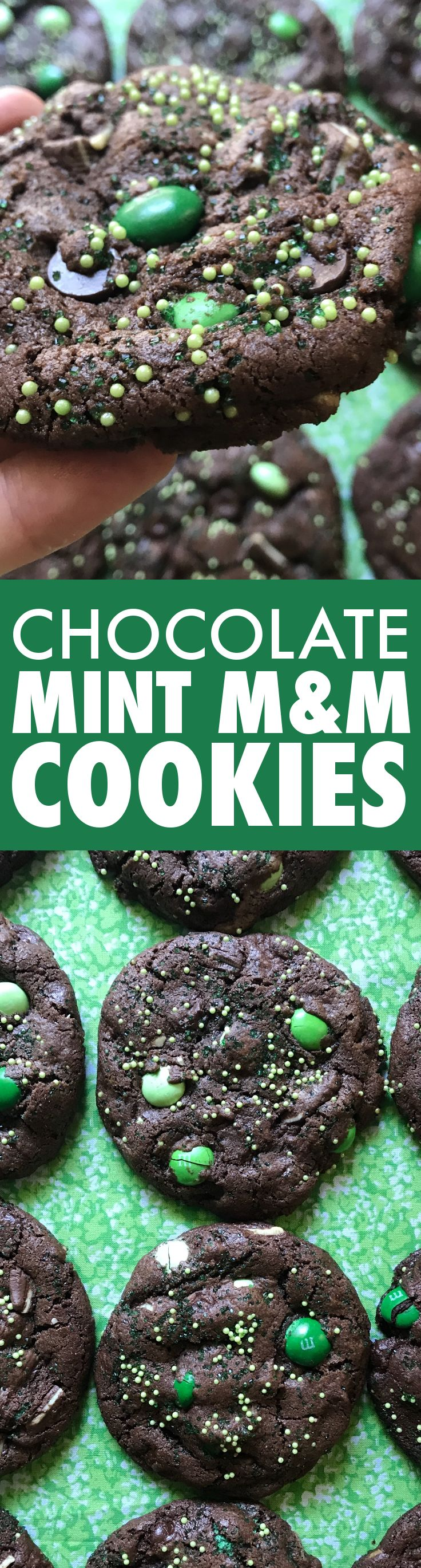 A delicious chocolate cookie base, filled with chocolate chips, mint M&Ms, and Andes Mints, and topped with a healthy dose of green sprinkles. Get the recipe at Baste Cut Fold.