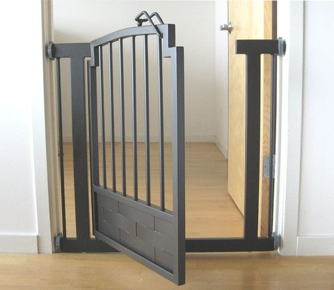 The modern weave design of interlaced plates gives this gate an elegant look that will go with any home decor. Aside from looking great, the Kings Weave Indoor dog gate for the house is also extremely rugged and durable and can be used with dogs of all sizes. The pressure-mount design makes for easy installation and take down - no tools or hardware are necessary. A walk-through doorway allows you to pass through the gate without having to remove it.