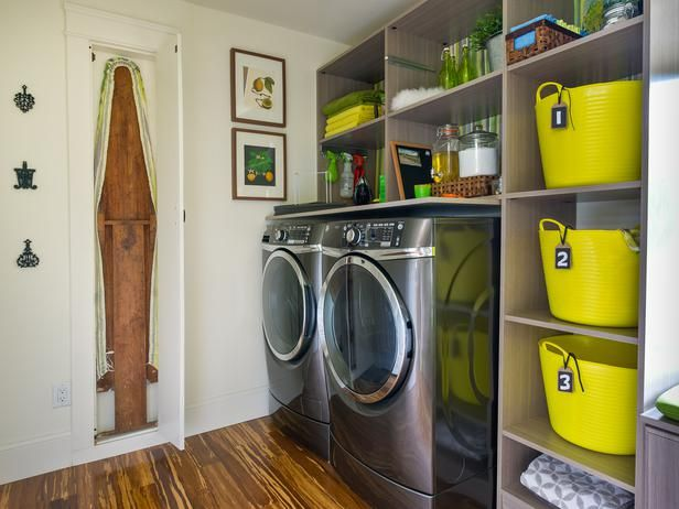 The House Counselor, Laure March, tricked out this laundry room with organization tricks. Each bedroom has a yellow bin for laundry. No more mixed socks!