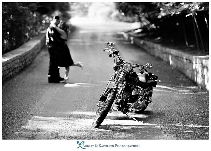 Engagement photo - motorcycle themed