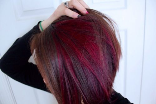 Brown w/ red peekaboo --love this cut and coloring...maybe with black and blue :D