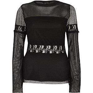 Black mesh lace insert long sleeve top