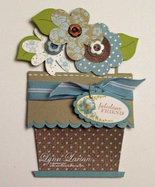 Flower pot pocket card tutorial-you don't glue this one...the ribbon keeps it together, according to Lynn L.