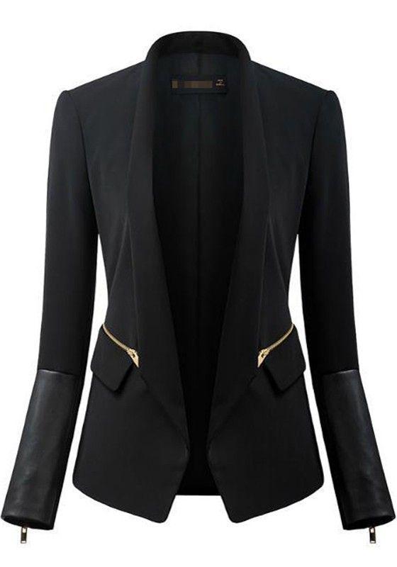 Black Patchwork PU Leather Zipper Long Sleeve Work Wear Slim Blazer - Suits - Tops