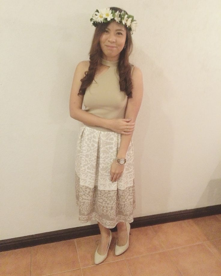 Printed skirt and sleeveless for my best friends wedding.