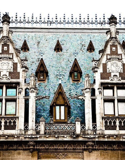 Windows, Calais France I'm in  love with the top of the building. would be a lovely border