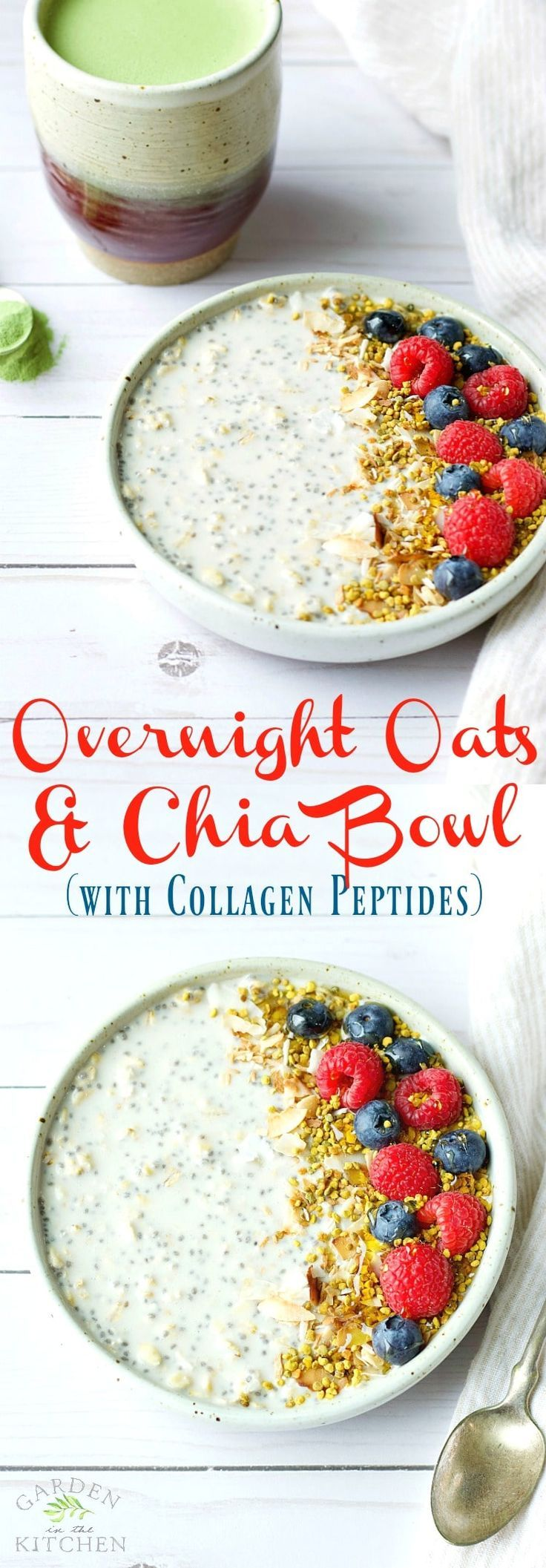 Nourishing Overnight Oats + Chia Bowl with Collagen Peptides. Your morning dose of wellness and rejuvenation in a simple recipe! @vitalproteins #vitalproteins #stayvital #collagenpeptides #ad #overnightoats
