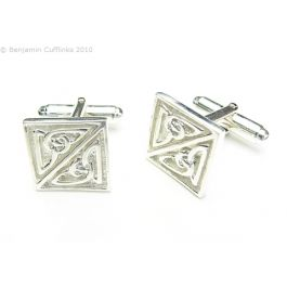 Silver Art Deco Square Cufflinks - 925 Silver