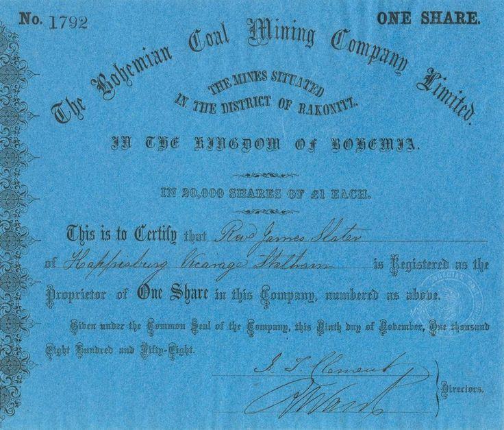 Bohemian Coal Mining Company Limited (České uhelné doly). Akcie na 1 Libru. Rakonitz (Rakovník), 1858.