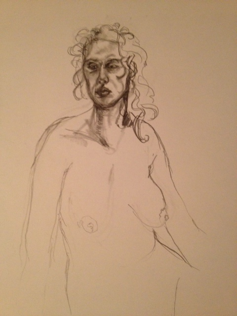 """""""Unfinished Business,"""" Life Drawing Study at the NHIA, 6/27/12, by Shirley Hazlett~Life Drawing, Drawing Study, Figures Drawing"""