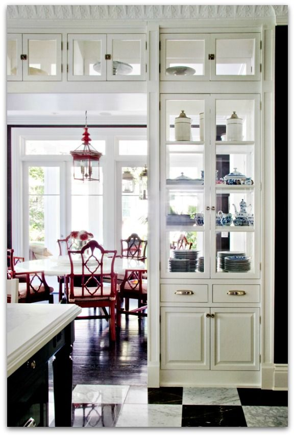 I'm obsessed with these china cabinets. Especially if they have doors that open to the dining room and doors for the kitchen.