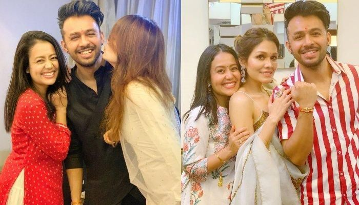Neha Kakkar Sonu And Tony Pose For A Naughty Pull Your Brother S Ears Picture On Bhai Dooj In 2020 Neha Kakkar Sonu Kakkar Tony