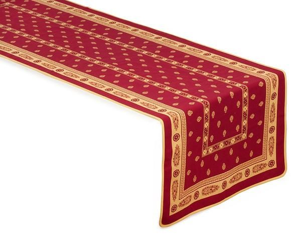 Jacquard table runner in red/yellow