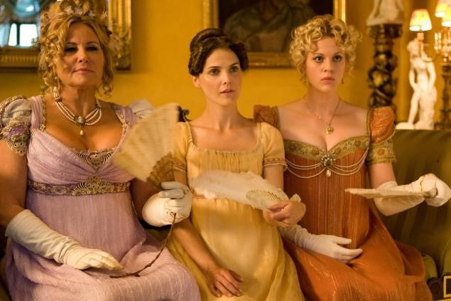 From left, Jennifer Coolidge as Miss Elizabeth Charming, Keri Russell as Jane Hayes and Georgia King as Lady Amelia Heartwright in 'Austenworld'
