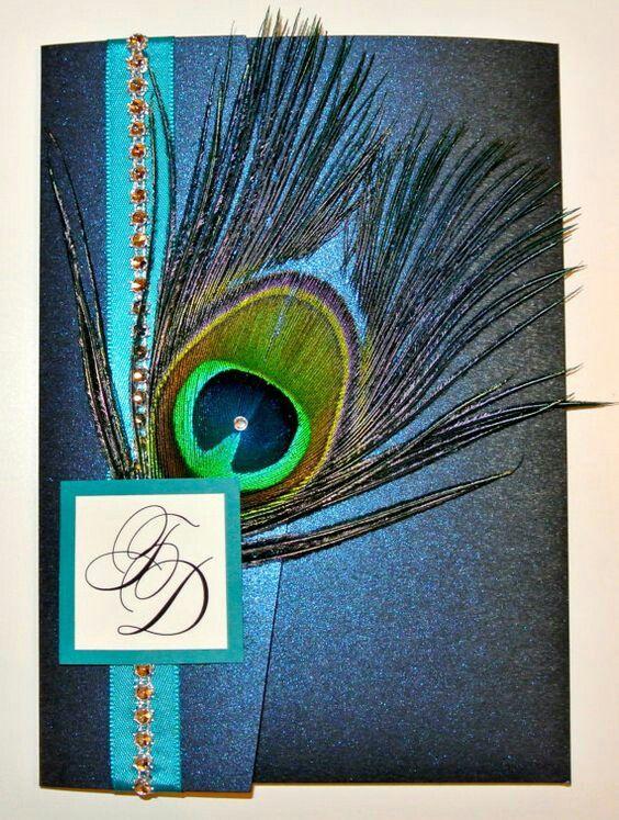 Items Similar To Rhinestone Band Peacock Feather Pocketfold Wedding  Invitation On Etsy