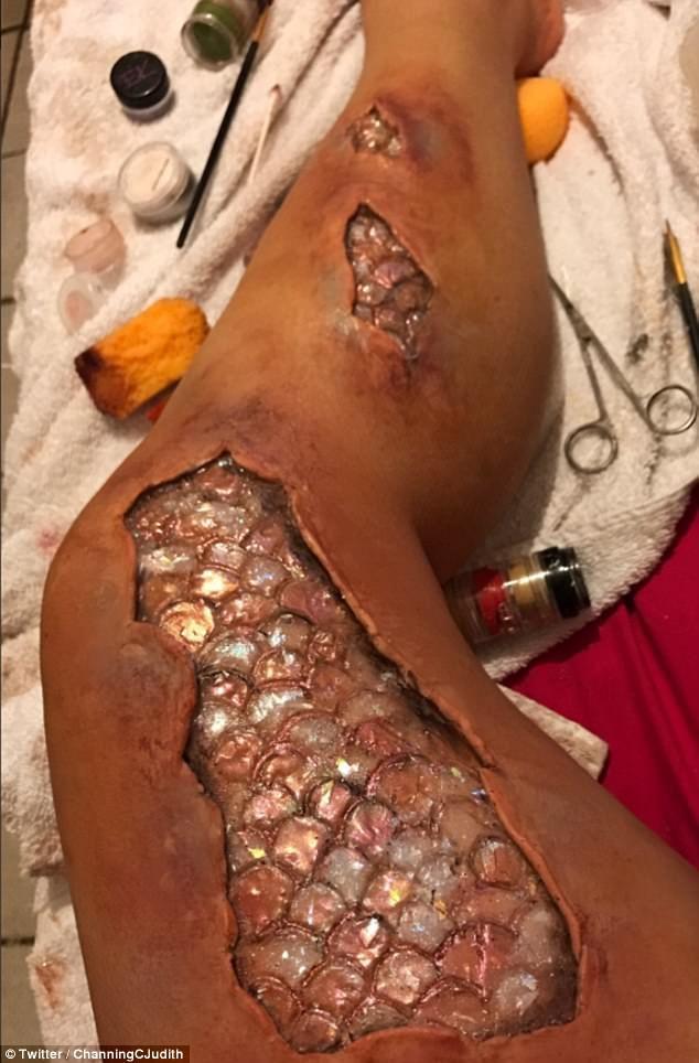 Makeup artist's VERY gory mermaid makeup goes viral #dailymail