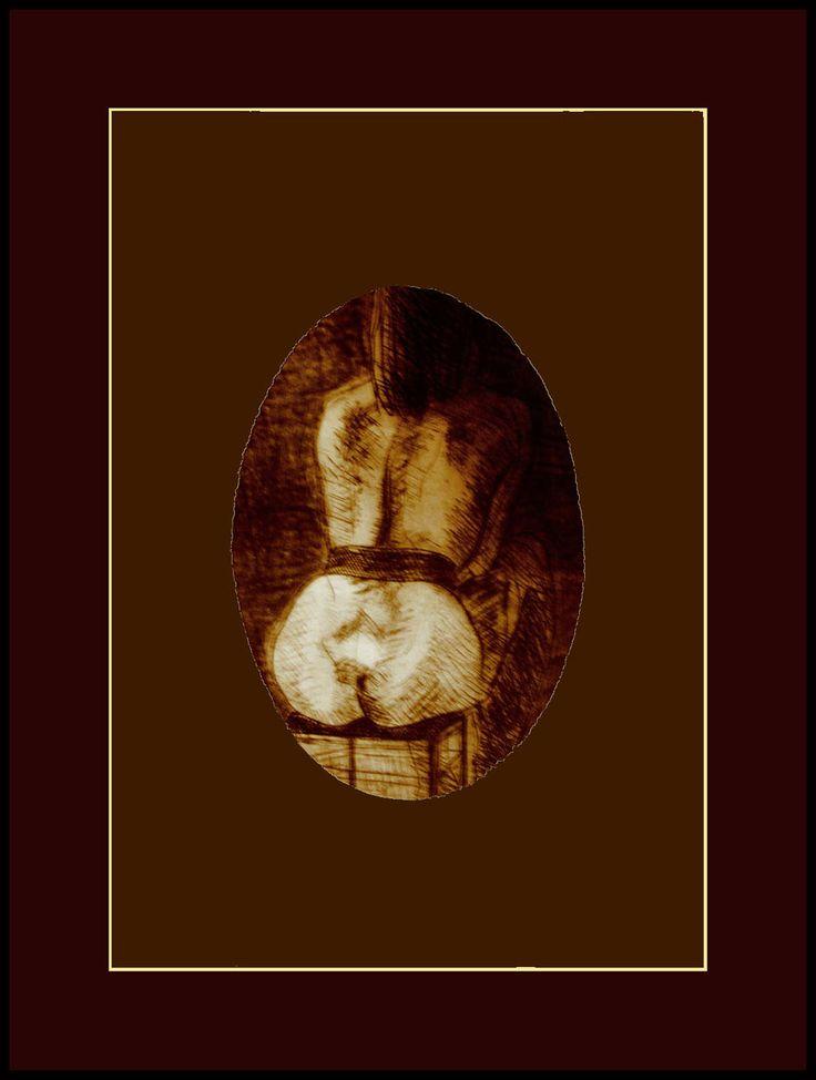 26 gravura nud femin, vazut din spate,asezat pe scaun