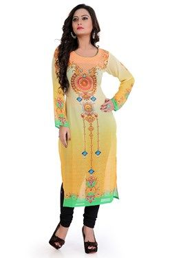 Kurtis,Admyrin,Yellow and Cream Georgette Digital Printed Kurti