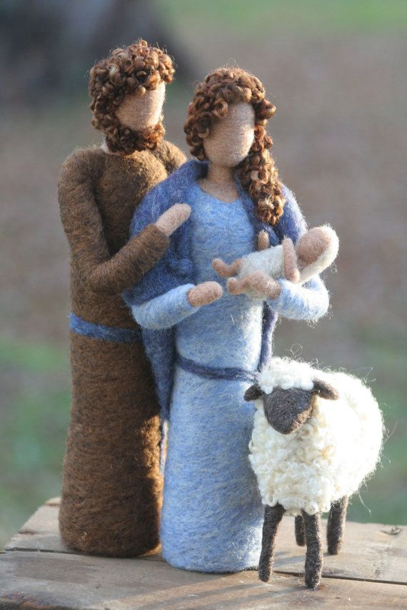 Needle Felted Nativity Waldorf Style Mary by TheMermaidsMuse