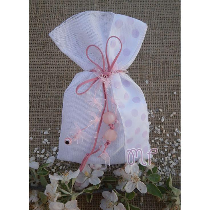 Μπομπονιέρες βάπτισης. Μπομπονιέρες βάπτισης κορίτσι πουγκί πολυγάζας με φάσα σχέδιο πουά ροζ, χάντρες και ματάκι