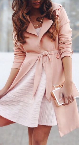 Love this blush shade & dress with coat!
