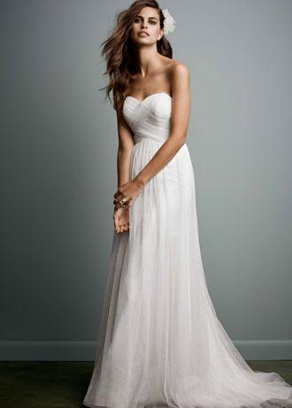 Swiss dot tulle empire waist soft wedding gown style for Empire waist tulle wedding dress