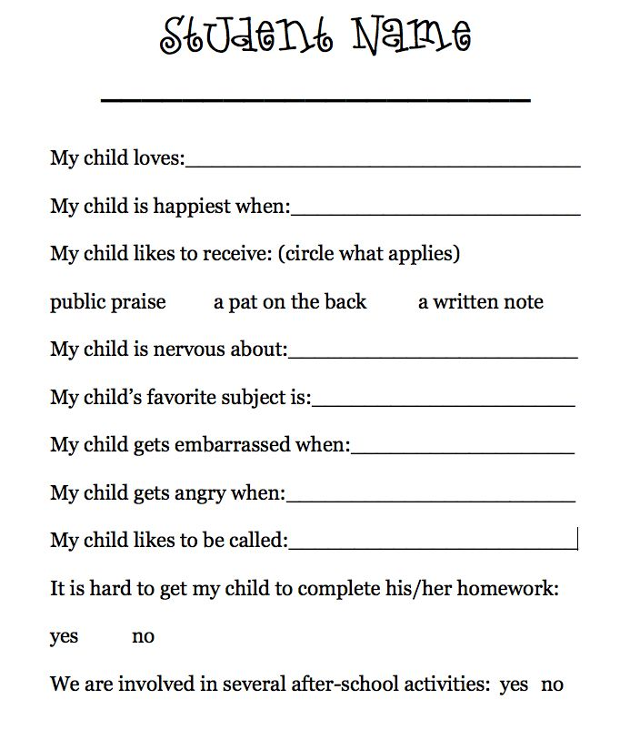 Having parents fill out a form (or write a letter) telling about their student, is a great way for you to be prepared on the first day of school! Perfect for teacher orientation!