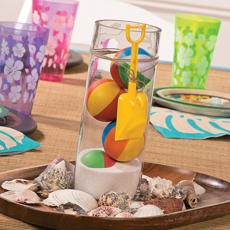 Beach Ball Centerpiece Idea - OrientalTrading.com