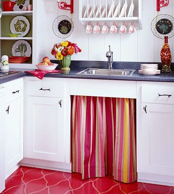Not crazy about the stripes...: Photos Galleries, Colorful Curtains, Curtains Ideas For Kitchens, Stripes Skirts, Accent Colors, Kitchens Photos, Kitchens Curtains Red, Kitchens Sinks, Cabinets Doors
