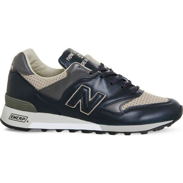 New Balance M577 leather trainers (9.190 RUB) ❤ liked on Polyvore featuring men's fashion, men's shoes, men's sneakers, new balance sneakers, lace up sneakers, laced sneakers, genuine leather shoes and stitch shoes