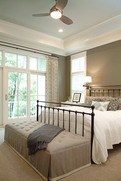 wrought-iron bed like ours; love the upholstered bench at the end of bed to contrast harsh iron