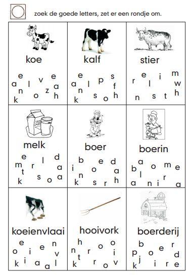 Verschillende werkbladen met als thema de koe, boerderij- zoek de goede letter