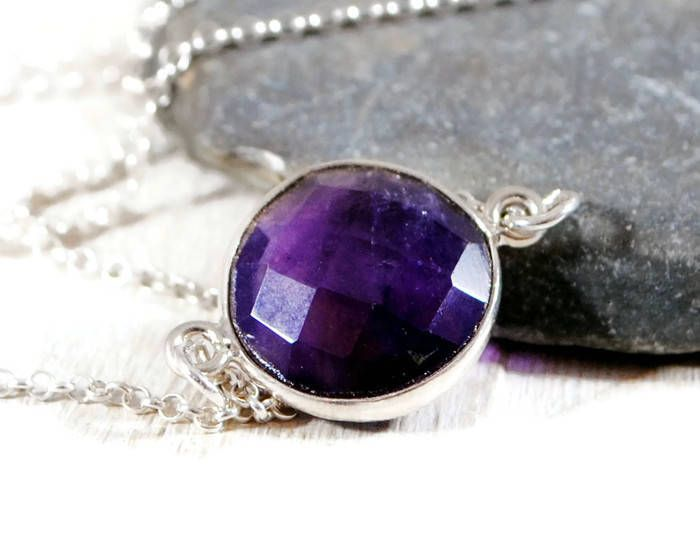 Amethyst Bezel Necklace. Minimalist Sterling Silver Purple Gemstone Necklace. Amethyst Gemstone Sideways Necklace. GSminimal Jewelry