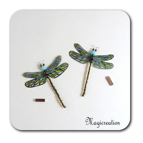 MAGNETS LIBELLULES TRANSPARENTES BLEU VERT-DEMOISELLE - Boutique www.magicreation.fr