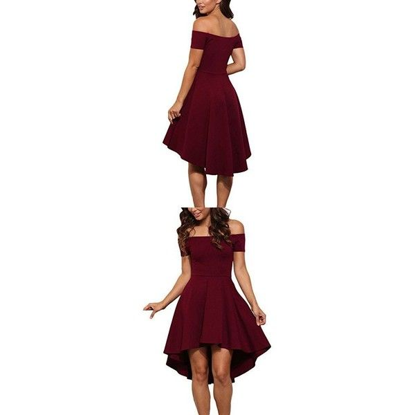 LOSRLY Womens Short Fit and Flare Bridesmaid Dress PRIME Dark Red... ❤ liked on Polyvore featuring dresses, fit and flare dress, wine dress, purple bridesmaid dresses, maroon bridesmaid dresses and dark red bridesmaid dresses
