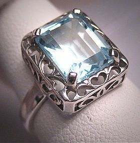 Vintage Aquamarine Wedding Ring Art Deco Filigree Retro