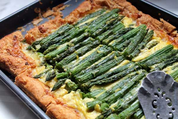 Asparagus Tart with Fontina & Gruyere Cheese Recipe
