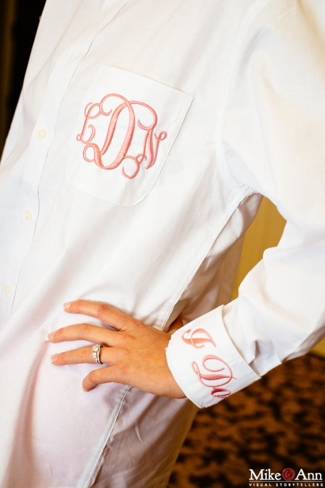 Monogrammed Bride and Bridesmaids Shirts for Wedding Prep/Southern Wedding/Lauren & Kyle's Wedding, photo by: Mike & Ann Studios