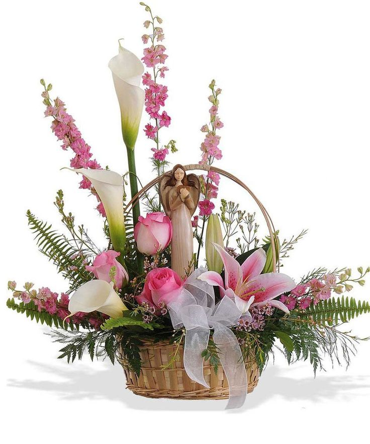 """11SU21 and 11SU21D 11"""" resin angel (limited supply available) with heart or 15"""" resin praying angel - both with """"tree bark-like"""" bases are surrounded by pink roses, stargazer lilies, pink larkspur, waxflower and a variety of..."""