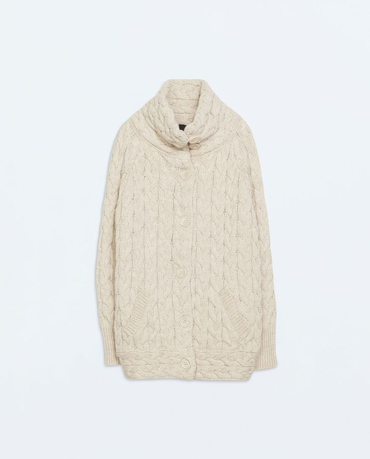 {ZARA Cabled Cardigan in Sand - under $100}