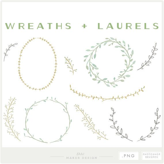Wreaths & Laurels - PNG Files - Photoshop Brushes - Watercolor Clip Art - Digital Graphic Set - Photo Overlays