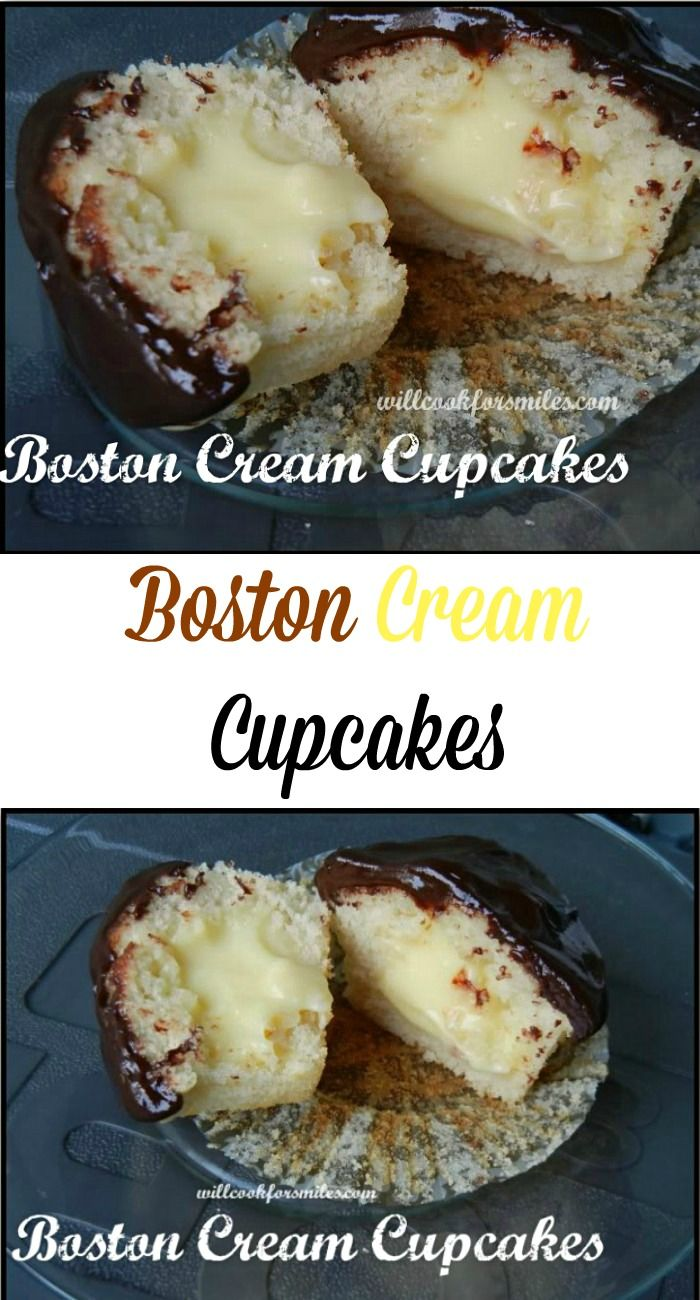Boston Cream Cupcakes. Soft yellow cake cupcakes filled with homemade custard and topped with chocolate ganache. from willcookforsmiles.com