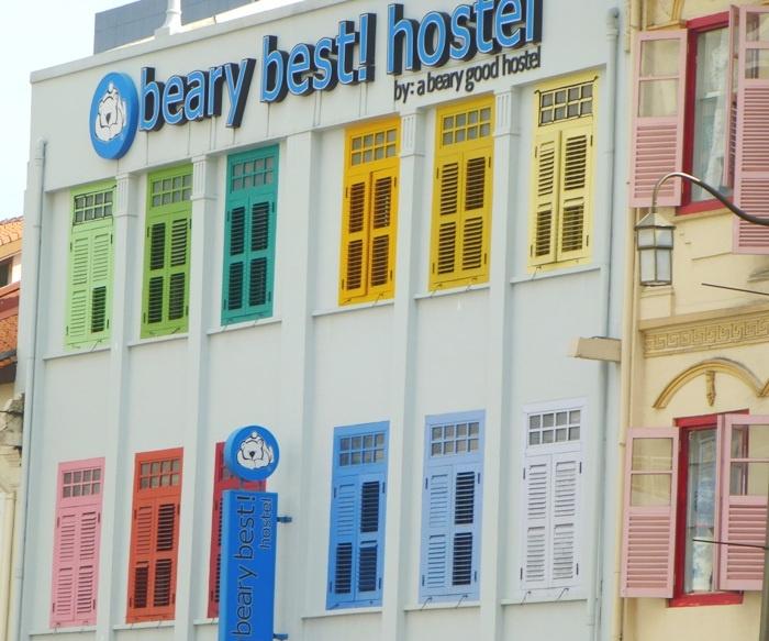 Beary Best! Hostel, Singapore, rainbow window shutters.