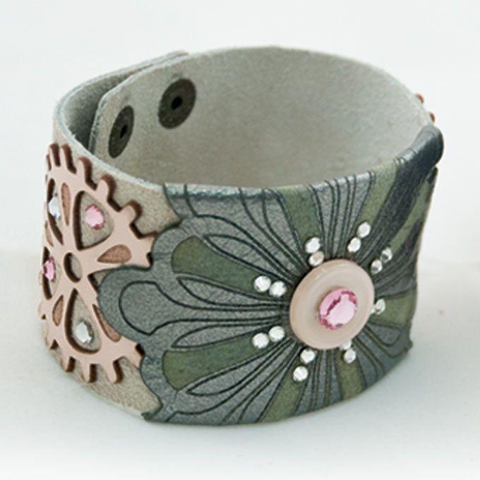 Flora Cuff #leather #silver #swarovski #crystal #steampunk #clog