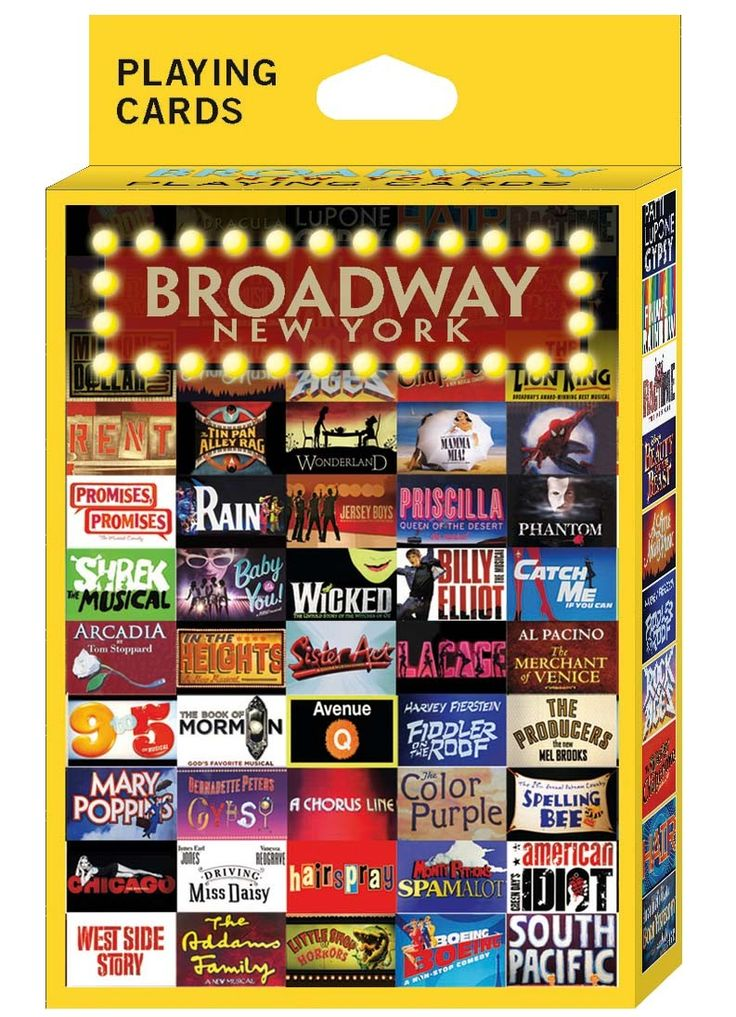 GrandSlamNewYork.com - Broadway Shows NY Playing Cards, $4.99 (http://www.grandslamnewyork.com/broadway-shows-ny-playing-cards/)