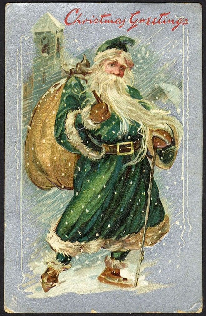 Tuck SANTA CLAUS in GREEN COAT Christmas Postcard 1908 Snow Storm Bag of Toys $20.00. Tuck SANTA CLAUS in GREEN COAT Christmas Postcard 1908 Snow Storm Bag of Toys ORIGINAL OLD postcard. Please use SHOPPING CART for multiple purchases to save on shipping cost. One shipping cost for as many cards as you want (in USA). size....................approx. 3 1/2 x 5 1/2 date...................postdated 1908 published by Raphael Tuck Christmas Post Card Series No. 136 condition............Ve...