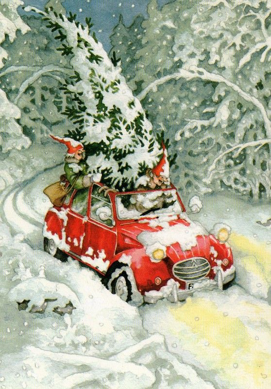 by Inge Look • citroen 2CV art • Citroen Christmas