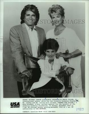 1987 Press Photo Michael Landon, Gloria Loring & poster child Eddie Coller Jr.